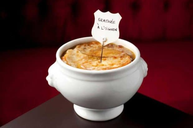 French onion soup at Le Castilione