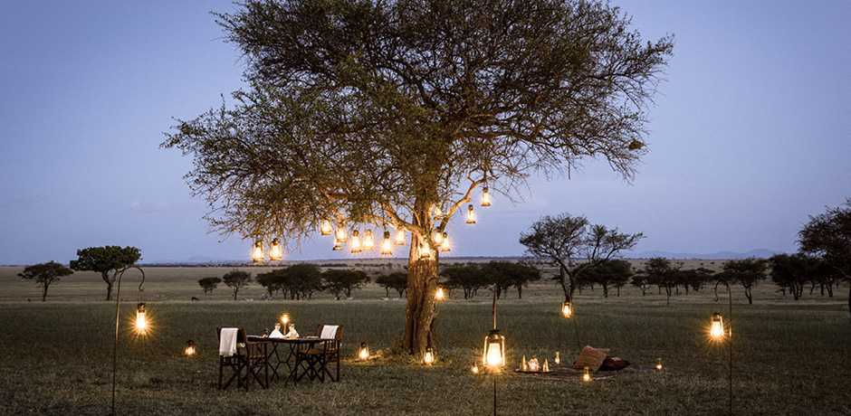 Dining under the stars is just one of the many romantic adventures offered at Singita Grumeti Sabora, Tanzania