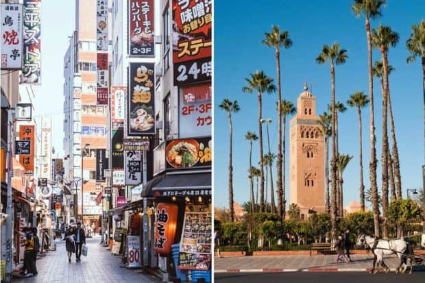 The streets of Tokyo and the Koutoubia mosque, Marrakech