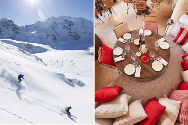Skiing in St. Moritz, courtesy Switzerland Tourism; the Shellona restaurant, St. Barth's, courtesy Michael Graam