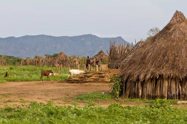 A village of the Kara tribe in the Omo Valley in Ethiopia