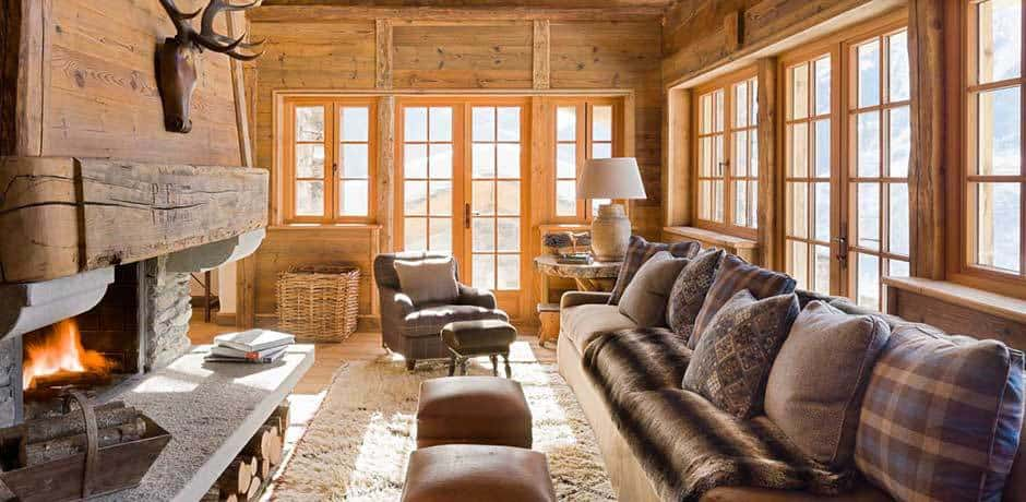 The living room at Chalet Pelerin. Courtesy Eleven Experience