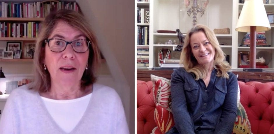 Elizabeth Lesser, left, in conversation with Melissa Biggs Bradley, via Zoom.