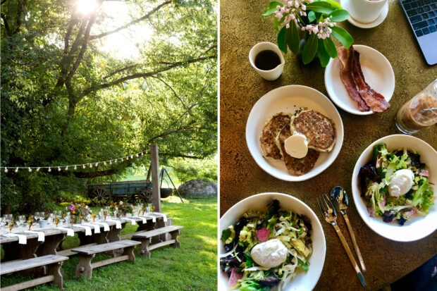 From left: Summertime at Blackberry Farm, Tennesse, photo courtesy Blackberry Farm; a breakfast spread at sister property Blackberry Mountain, photo by Emma Pierce