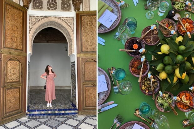 From left: Madeline Case in Marrakech; a private luncheon at Yves Saint Laurent's Villa Oasis in Marrakech for last year's Insider Journey, photo by Elise Bronzo