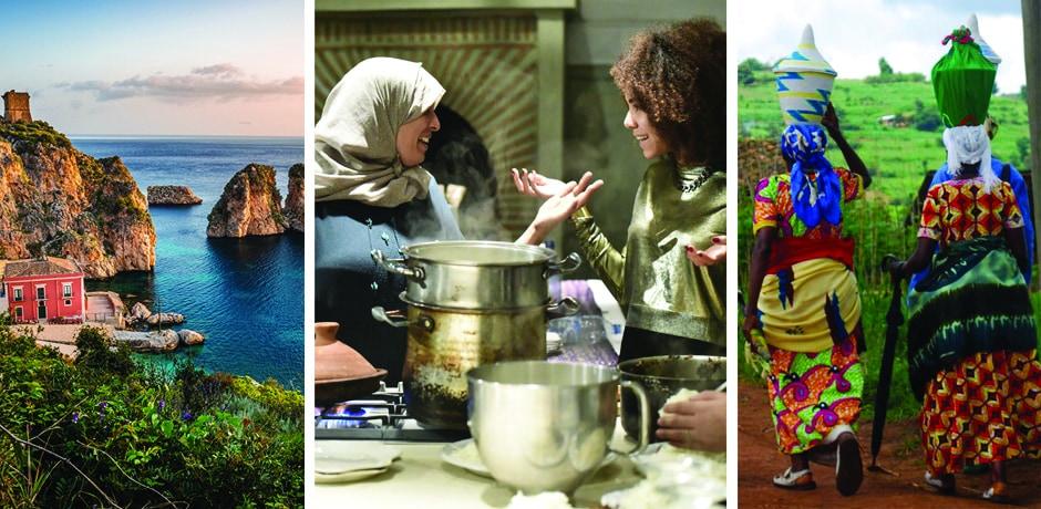 From left: Sicily; preparing tagine in Morocco (photo by David Arnoldi); exploring in Rwanda