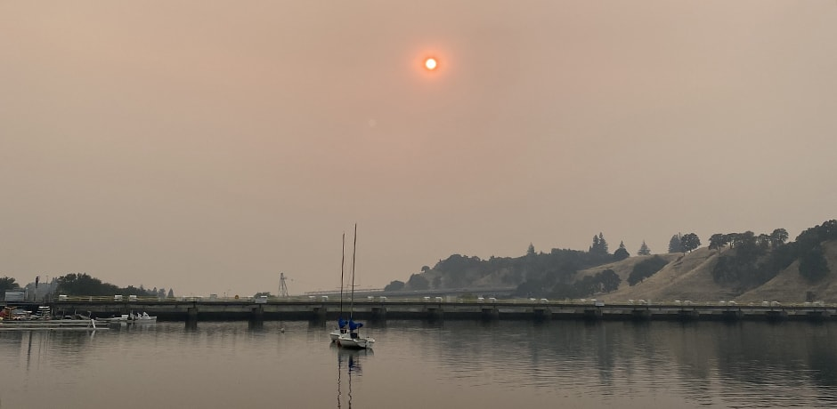 A smokey horizon in California during the 2020 Wildfires. Courtesy Indgare