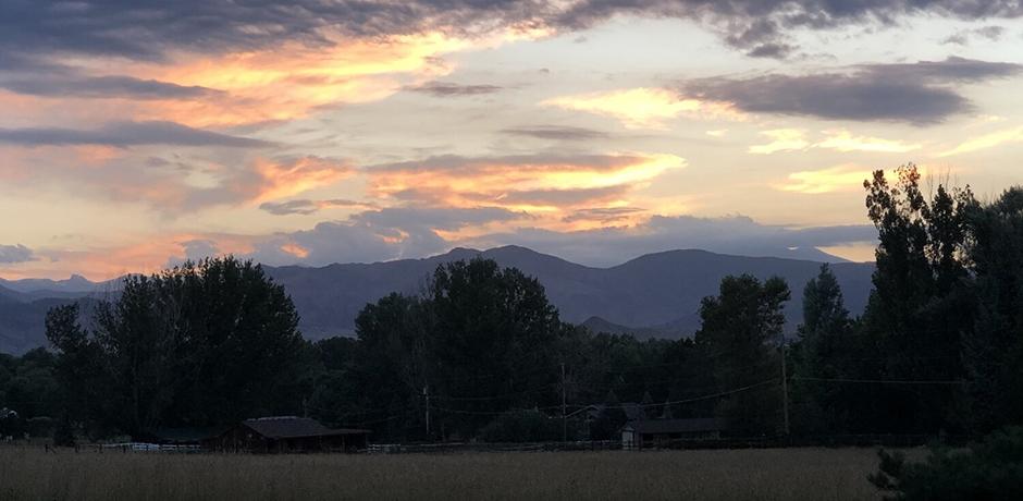 Sunset over the Rockies in Colorado. Courtesy Penny Hearscher