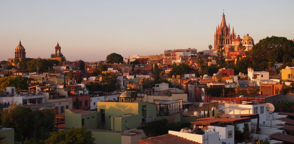 San Miguel, with a view of the iconic Gothic Parroquía Church from the Rosewood, at sunset. Photo by Elizabeth Harvey
