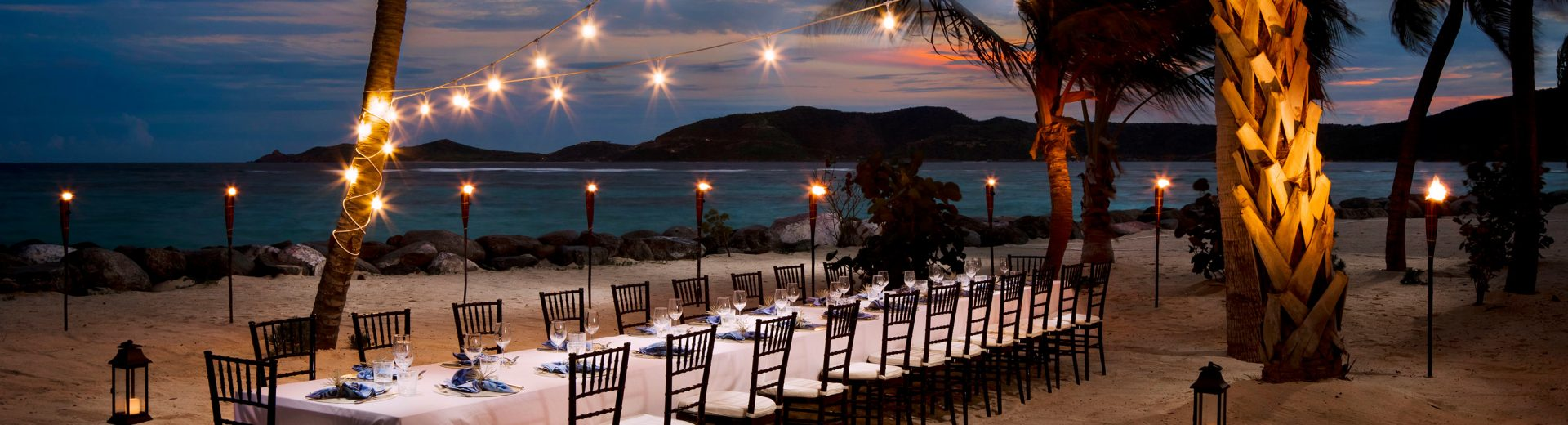 Necker Island dinner party on beach