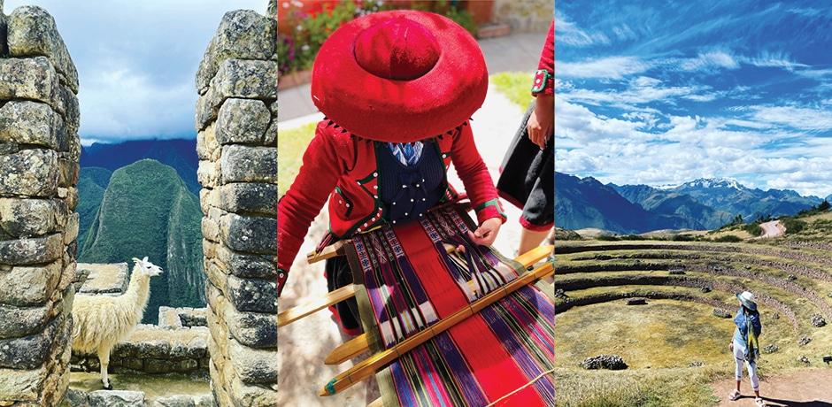 A llama at Machu Pacchu; an artisan weaver in Chinchero; terraces of Moray. Photos by Diana Li