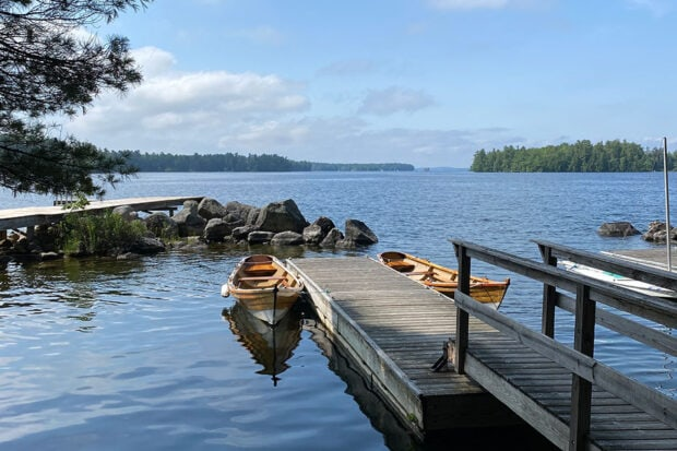 A morning view of Sebago Lodge at Migis Lodge in South Casco, Maine