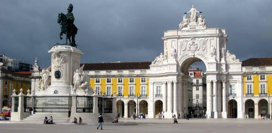 Praca do Comercio square, a Lisbon landmark bordering the Tagus River