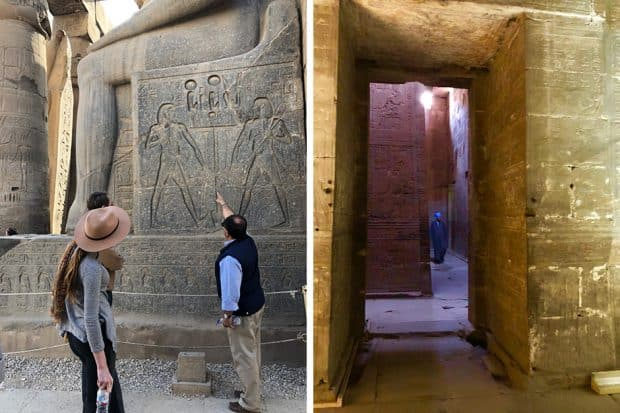 A guide explains a hieroglyph to tourists in Egypt; the Temple of Horus