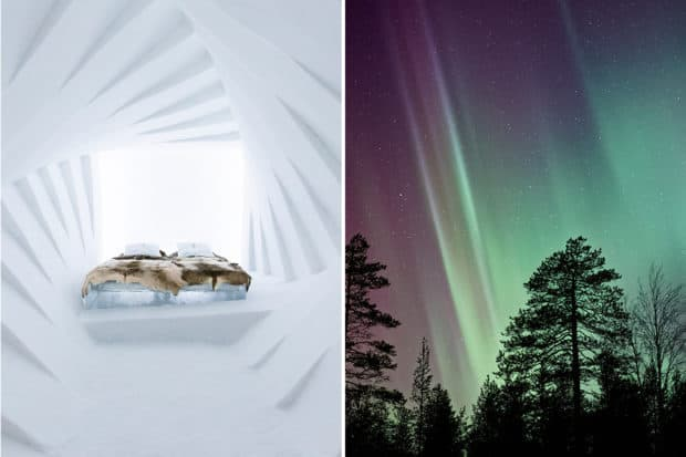 From left: a room at the Icehotel (courtesy Icehotel); winter views of the Northern Lights.