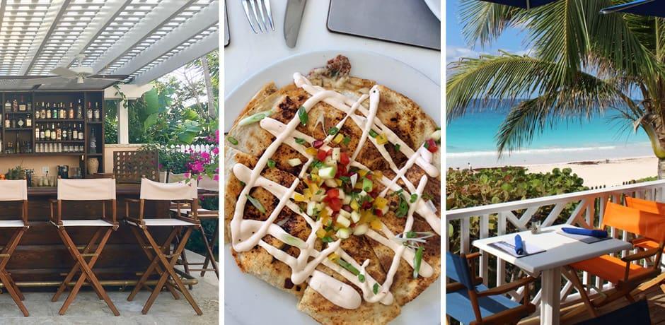 From left: The bar at the Bahama House Inn; center: lobster quesadilla at Sip Sip; left: al fresco dining at Sip Sip