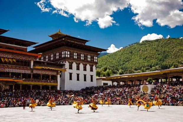Thimphu festival at Tashichoe Dzong, Bhutan