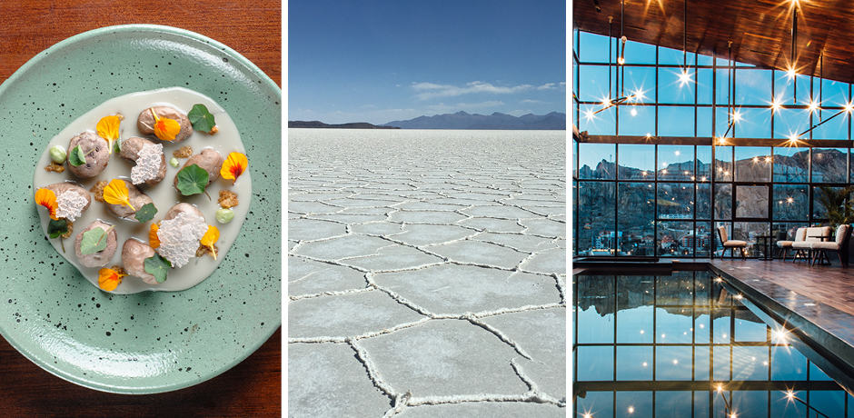 Left: a meal at the Atix Hotel; center: the Salar de Uyuni salt flats; right: the pool at the Atix hotel