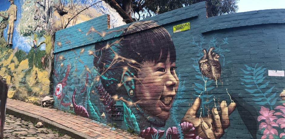 Street art in Candelaria, the historic heart of Bogotá