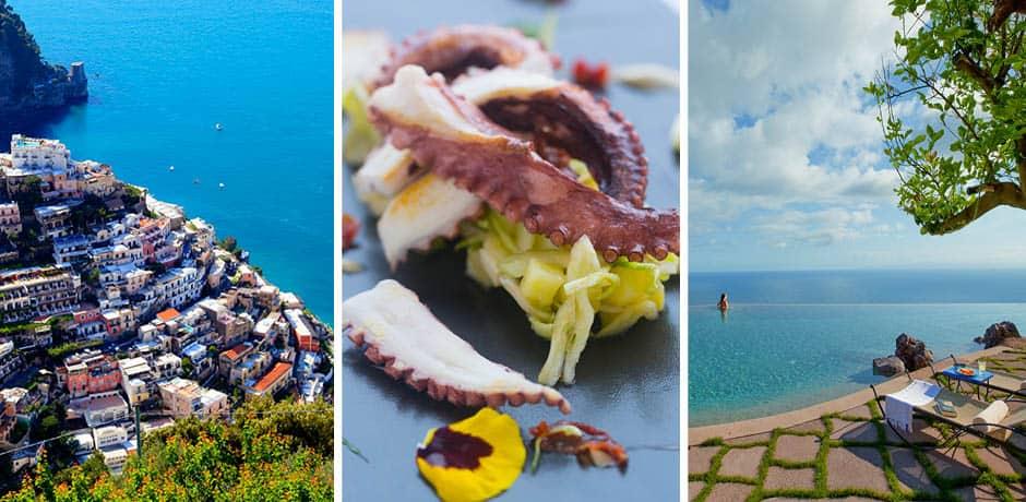 Amalfi coastline, squid on plate, Italian waterfront