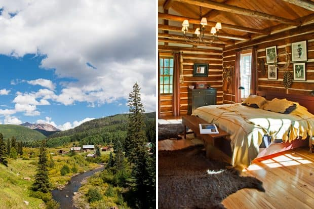 Exterior and bedroom at Dunton Hot Springs in Colorado