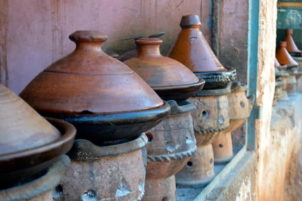 A display of tagines in the souk in Marrakech