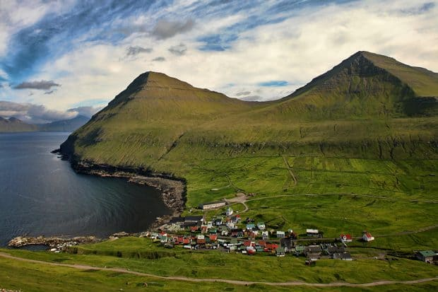 An aerial view of the village of Viðareiði