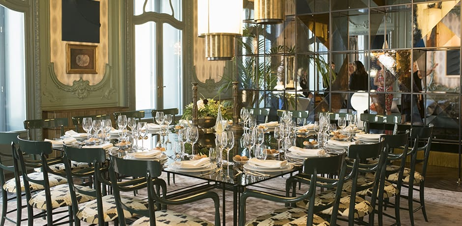 The dining room at the Palazzo Fendi's private apartment, which was designed by Dimore Studio.