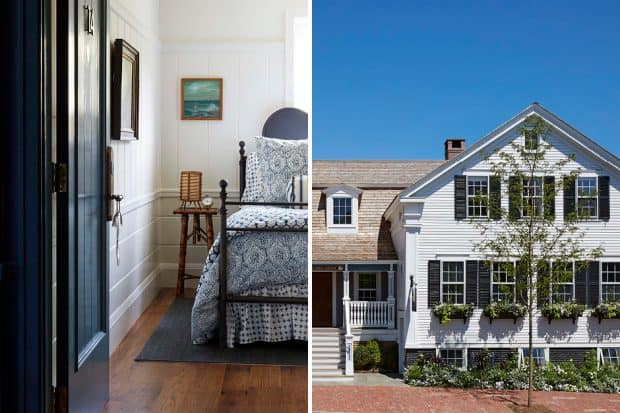 Bedroom and exterior of Greydon House in Nantucket