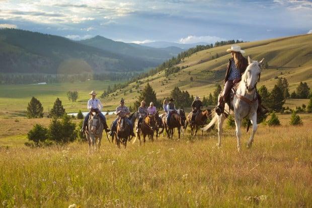 Horse riders near the Ranch at Rock Creek, Montana