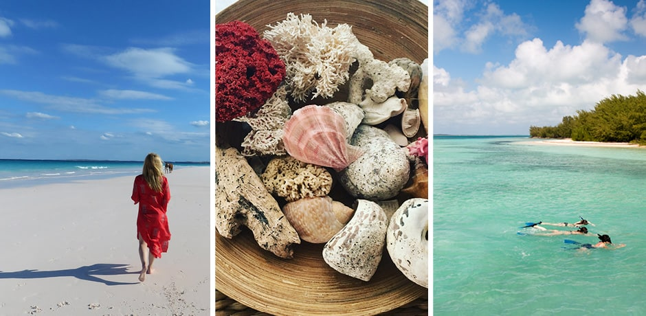 Left: Melissa walking on the beach; center: a tropical shell spread; right: snorkelers, courtesy Eleven Experience