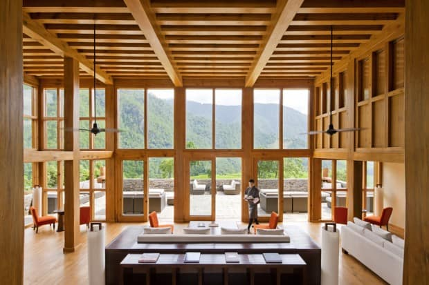 The sleek lounge at Uma Punakha. Courtesy Uma Panakha