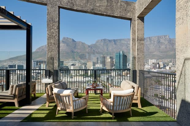 Chairs on Silo rooftop bar in Cape Town
