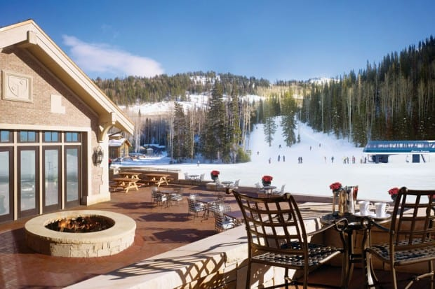 Outdoor patio at Montage Deer Valley ski resort
