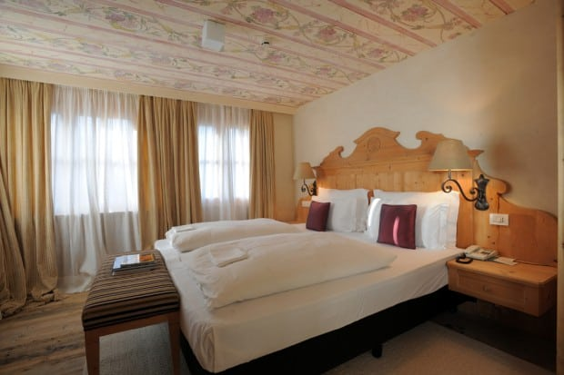 One of the airy rooms at Rosa Alpina. Courtesy Rosa Alpina