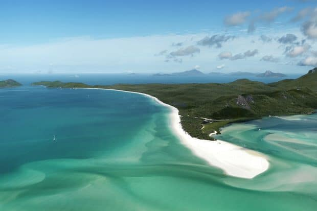Aerial view of shoreline at Great Barrier Reef