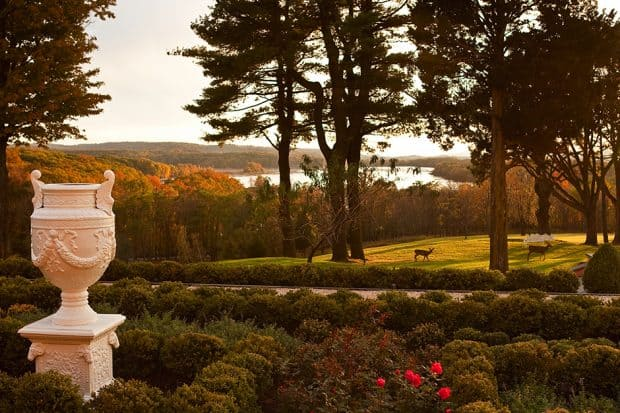 Green grounds and Hudson River view at Glenmare Mansion