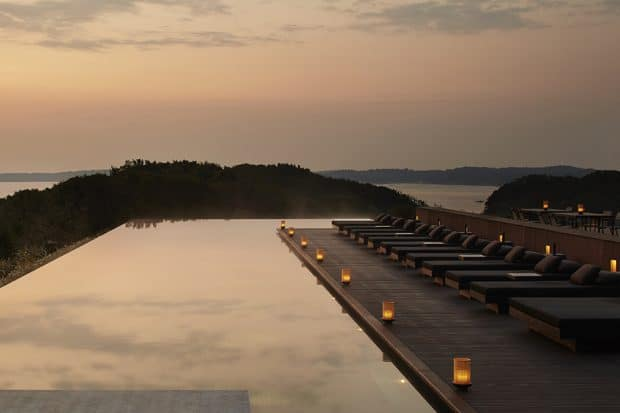 The swimming pool at Amanemu. Courtesy Amanemu