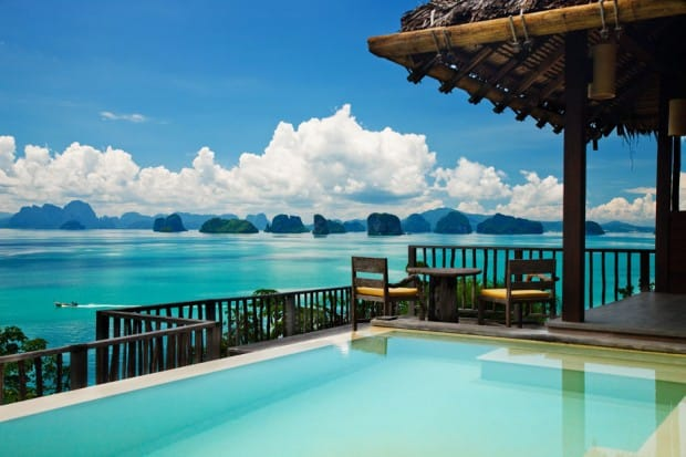 Pool and ocean view at Six Senses Yao Noi in Thailand