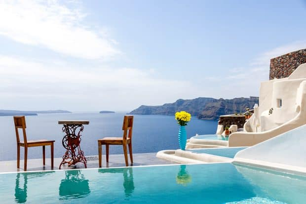 Pool and ocean view at Andronis Luxury Suites on Santorini Greece