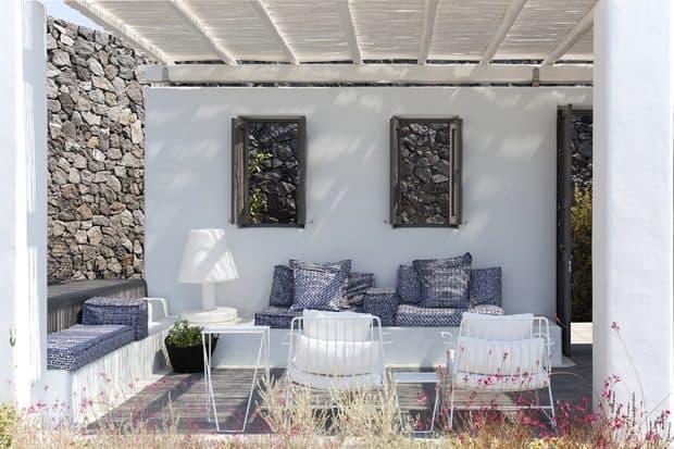 Outdoor lounge at Erosantorini villas on Santorini Greece
