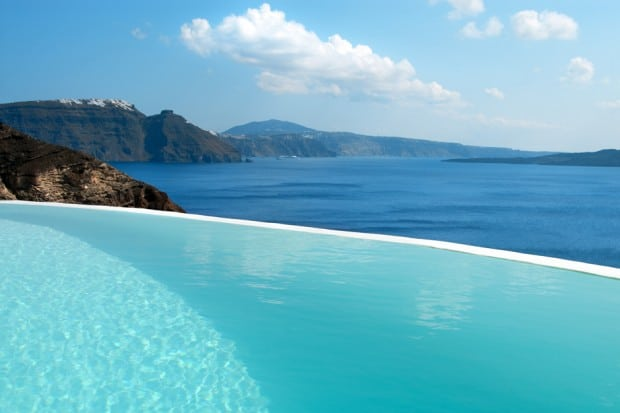 Infinity pool and ocean view from Mystique in Santorini Greece