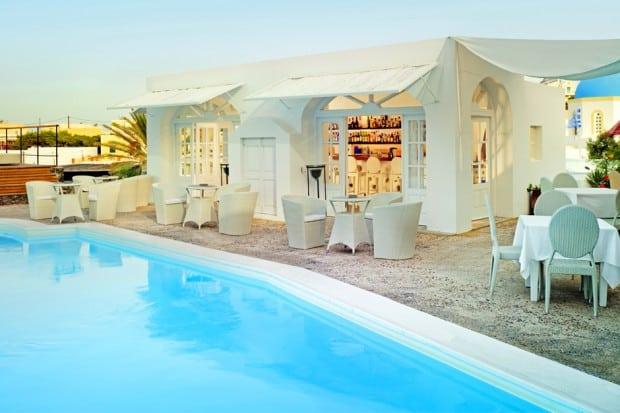 Pool at Vedema hotel on Santorini Greece
