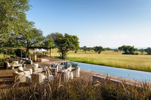 Outdoor dining area at Singita Serengeti House in Tanzania