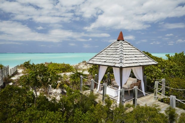 A sea-view gazebo. Courtesy COMO Parrot Cay