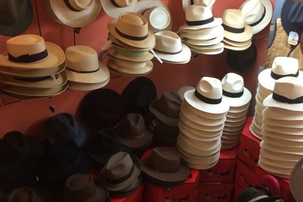 Stacks of hats in shop in Andalusia, Southern Spain