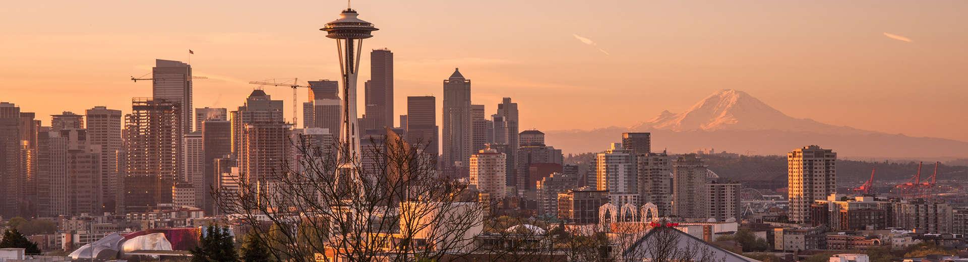 The Seattle skyline at twilight