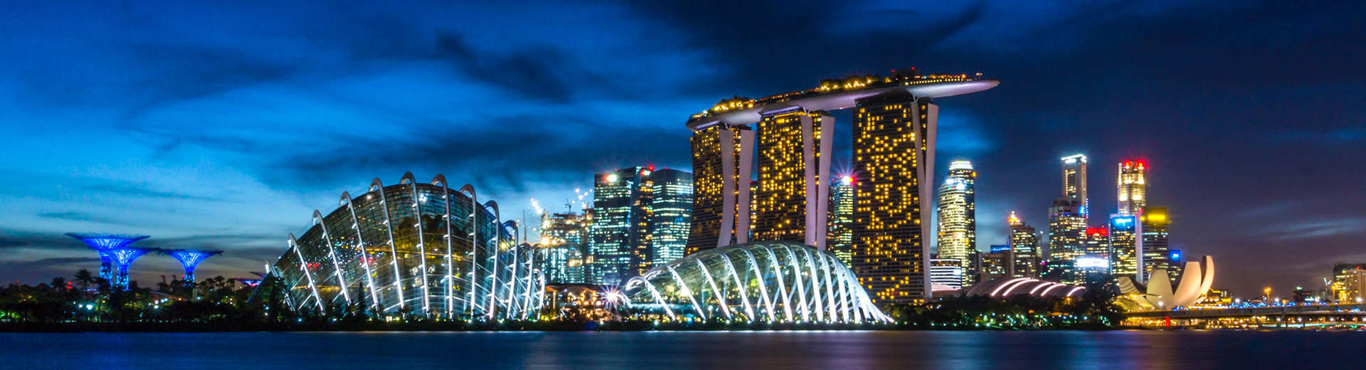 The singapore skyline at night