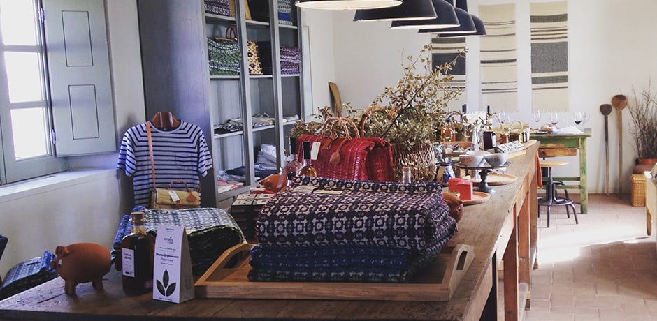 São Lourenço do Barrocal's gift shop, featuring artisan goods, accessories and homewares
