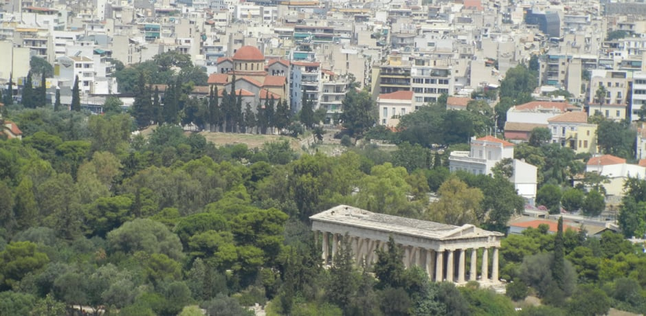 From the Parthenon, you'll get great views of the Acropolis, including other ancient sites such as the Temple of Zeus, pictured here.